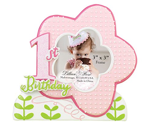 Lillian Rose 1st Birthday Picture Frame, Pink, 5.25