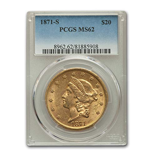 1871 S $20 Liberty Gold Double Eagle MS-62 PCGS G$20 MS-62 PCGS