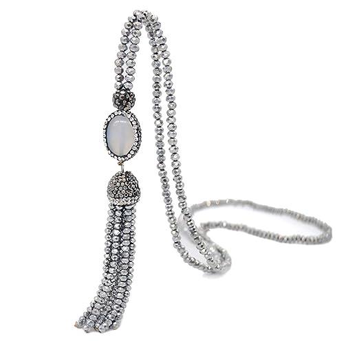 fc0d894ed9e9be Bohemian Agate Long Strand Necklace Tassel Fringe Handmade Crystal Beads  Chain Women Girls Grey