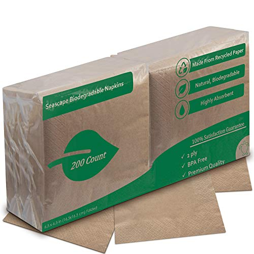 Eco Friendly Recycled Dinner Napkins | Unbleached Highly Biodegradable Brown Napkin | 2 Ply, 6.5 x 6.5 Inches Folded (200 Pack)