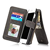RAYTOP iPhone 7 Plus Leather Case With 15-Slots Wallet [Inside Phone Cover Can Be Removed] See Through ID Card Holder Kickstand Function Vintage Magnetic Button Classic (Black for iPhone 7 Plus)