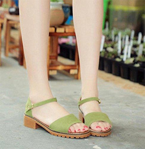 Sommer Sandalen bequem mit niedrigen Absätzen Sandalen Wild Green
