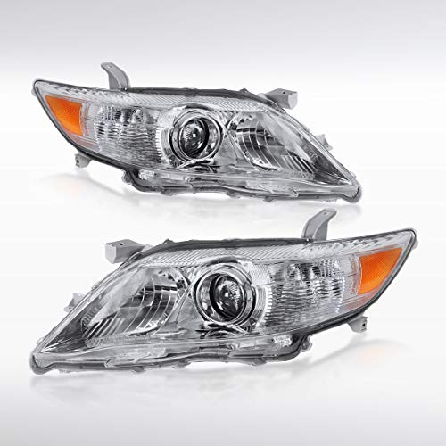 Autozensation For Toyota Camry SE XLE LE Projector Headlights Clear Housing Clear Lens w/Amber Reflector Pair
