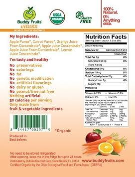 Amazon.com : Blended frutas y verduras, manzana, zanahoria y naranja, 5, 2 la libra (paquete de 14) : Baby