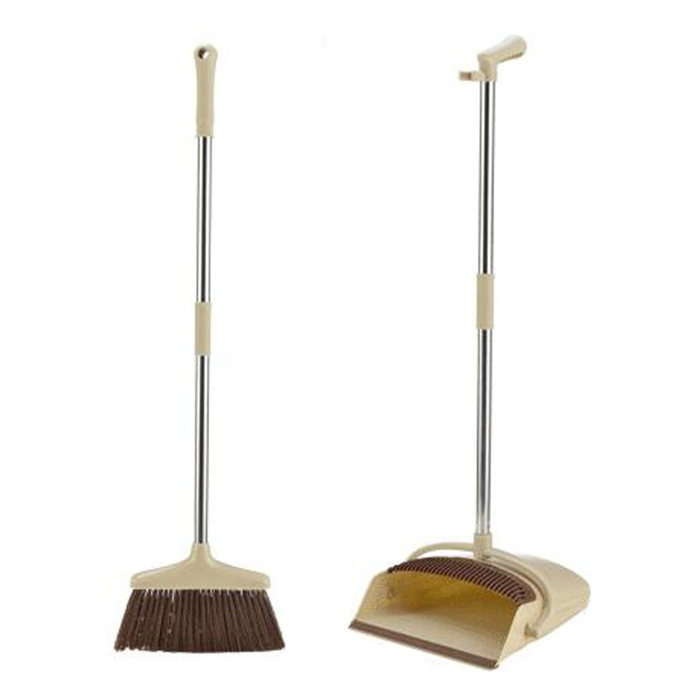 Kylin Express Durable Removable Broom and Dustpan Standing Upright Grips Sweep Set with Long Handle, D