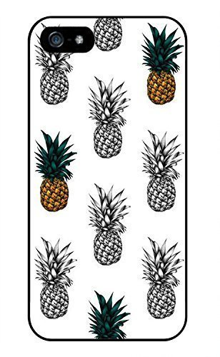 Color Black And White Pineapple Phone Case [Customizable by Buyers] [Create Your Own Phone Case] Slim Fitted Hard Protector Cover for iPhone 5 5S (Create Your Own Phone Case Iphone 5)