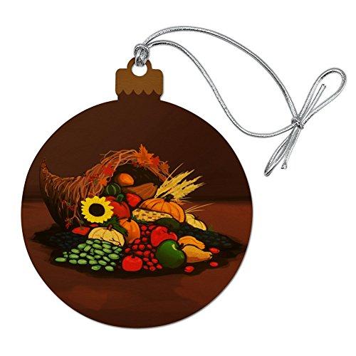 GRAPHICS & MORE Cornucopia Thanksgiving Holiday Autumn Fall Wood Christmas Tree Holiday Ornament