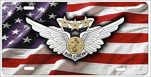 Air crew Combat Wings on American Flag personalized novelty front license plate Decorative Vanity car tag can also be used as a door sign Combat Aircrew Wings