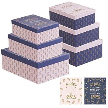 Dcasa - Juego 3 cajas regalo diseño piñas con frase SER FELIZ - Rosa: Amazon.es: Hogar
