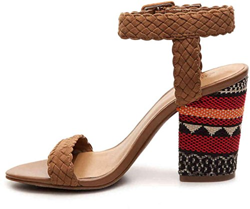 CROWN Vintage Womens Cadence Fabric Open Toe Casual Ankle Strap Sandals Cognac dYBfe9