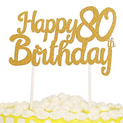 PALASASA Single Sided Glitter Happy Birthday Cake Toppers Decorations Tool Party Supplies (80th Gold)