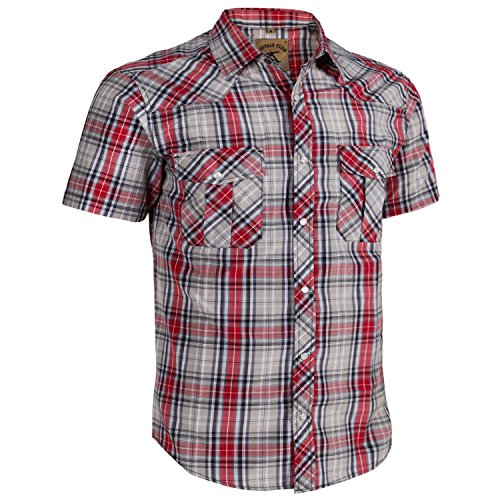 asual Plaid Snap Front Short Sleeve Shirt (Red / gray #22, XL) (Short Sleeve Pearl Snap)