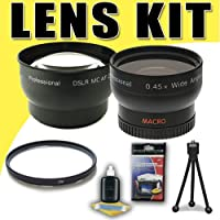 DavisMAX 2X Telephoto and 0.45X Wide Angle Lens with UV Filter Accessory Bundle for Canon 58mm Camcorders