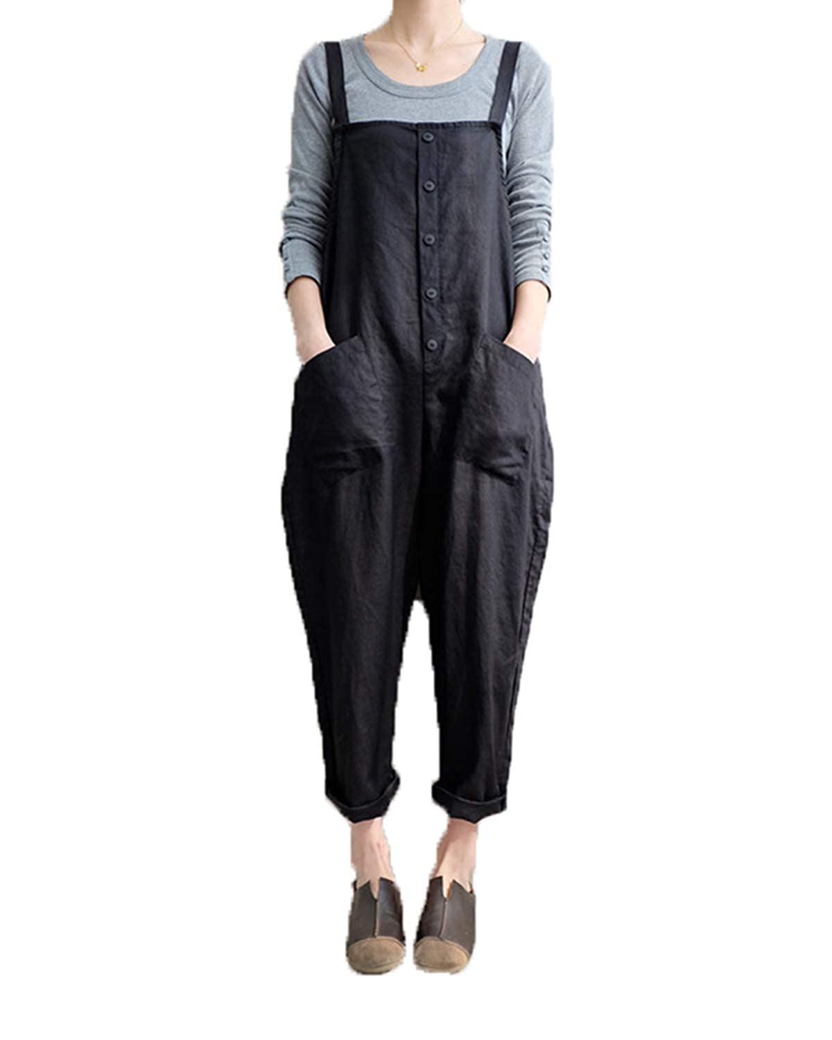 663d93069b Amazon.com  Celmia Women s Strappy Jumpsuits Overalls Casual Harem Pants  Wide Leg Low Crotch Loose Trousers  Clothing