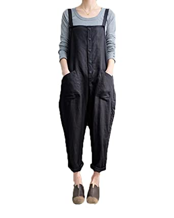 9a74eb5f0090 Celmia Women s Strappy Jumpsuits Overalls Casual Harem Pants Wide Leg Low  Crotch Loose Trousers Black S