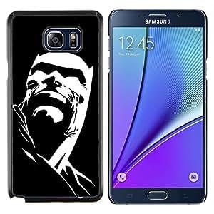 KLONGSHOP // Cubierta de piel con cierre a presión Shell trasero duro de goma Protección Caso - Cartel Negro personaje de dibujos animados - Samsung Galaxy Note 5 5th N9200 //