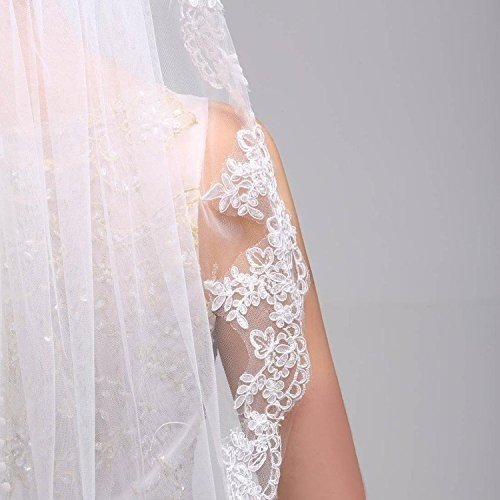 Women's Lace 1 Wedding Edge Bridess with Fingertip Applique Ivory Veil Oqw4xTF7p