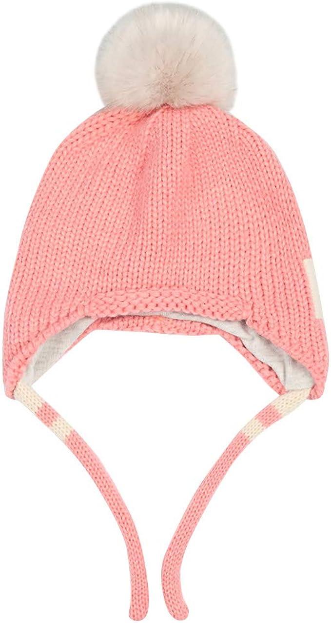 TWIFER Sombrero de Orejera de Bebé de Invierno Sombreros de Punto Pompom de Bebe Niños Niña Gorras Pelota de Felpa Mantenga el Sombrero Caliente Gorros de Punto Beanie de Tejer Lana: Amazon.es: