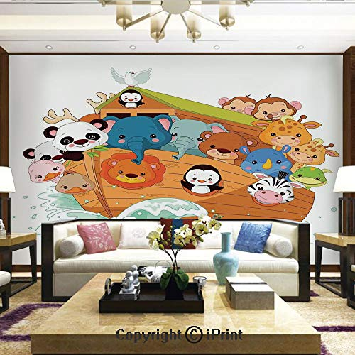 Removable Wall Mural | Self-Adhesive Large Wallpaper,Cute Graphic Print of Figure with Mythic Animals in Boat Ancient Story Lion Sea,Home Decor - 66x96 inches