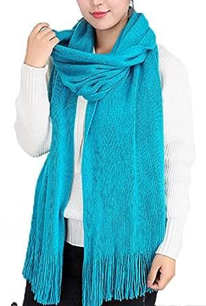 Wander Agio Women's Warm Long Scarves Winter Scarfs Pure Color Scarf Tassel Cyan