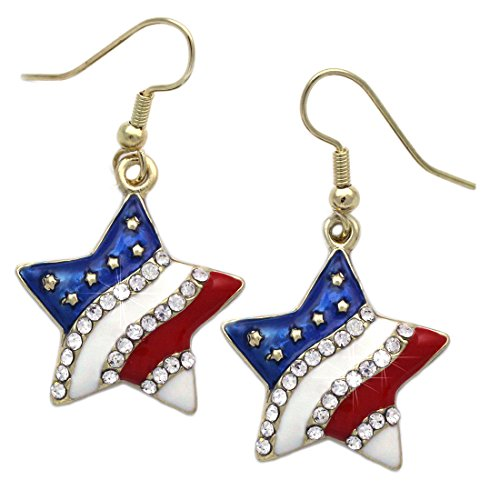 4th of July USA American Flag Patriotic Red Blue Star Earrings Jewelry (Gold-tone Star Dangle)