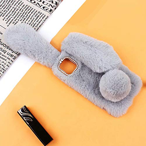 Omio for iPhone 11 Pro Max Rabbit Case Soft Fur 3D Handmade Fluffy Furry Cute Bunny Plush Rabbit Cover Case Funny Warm Big Ears Bling Crystal Rhinestone Bowknot Shell for iPhone 11 Pro Max Case Gray (Rabbit 4 Case Bunny Iphone)