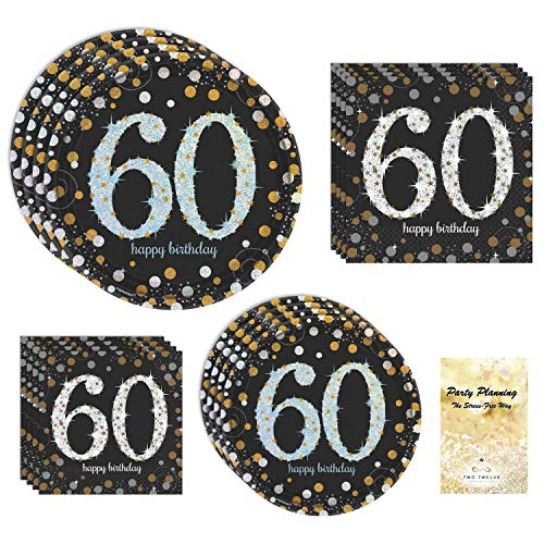 60th Birthday Party Supplies, Sparkling Celebration Design, Bundle of 4 Items: Dinner Plates, Dessert Plates, Lunch Napkins and Beverage Napkins - Hill Birthday Kit