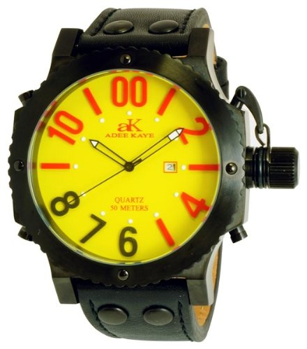 Adee Kaye AK7211-MIPB YELRD Men's Oversized Quartz Military Watch, Watch Central
