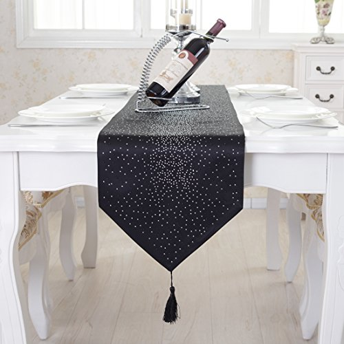 Luxury Damask Table (Luxury diamond bright star black damask silk tassel home decorative table runner 80 inch approx)