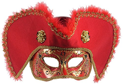 Venetian Male Masquerade Pirate Hat Mask (Red and (Venetian Pirate Mask)