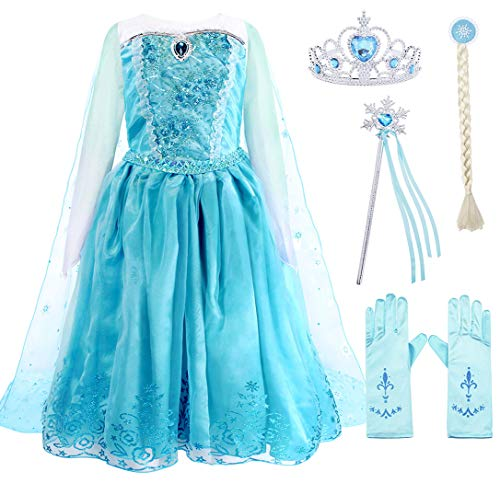 AmzBarley Kids Elsa Costume Snow Queen Princess Dress up Girls Sequins Organza Long Sleeve Fancy Dresses Halloween Theme Party Cosplay Role Play Outfits with Accessories Size -