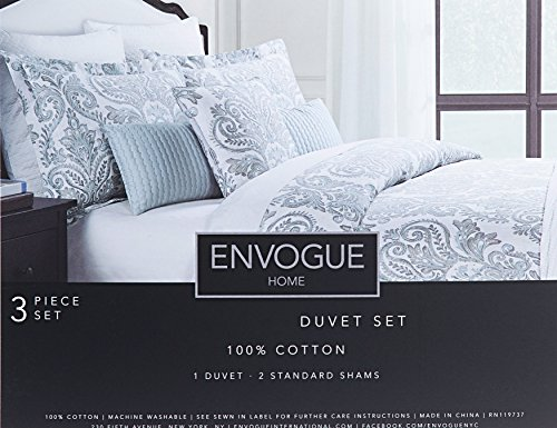 Envogue Bohemian Paisley 3pc Duvet Cover Set Vintage Moroccan Scroll Medallion Muted Colors Gray Dusty Blue Grey Silver Damask Bedding (King) (Gray Damask Duvet Cover)