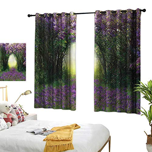 RenteriaDecor Garden Thermal Curtains Magic Misty Forest Spring Printed Window Curtains for Kitchen W55 x L45