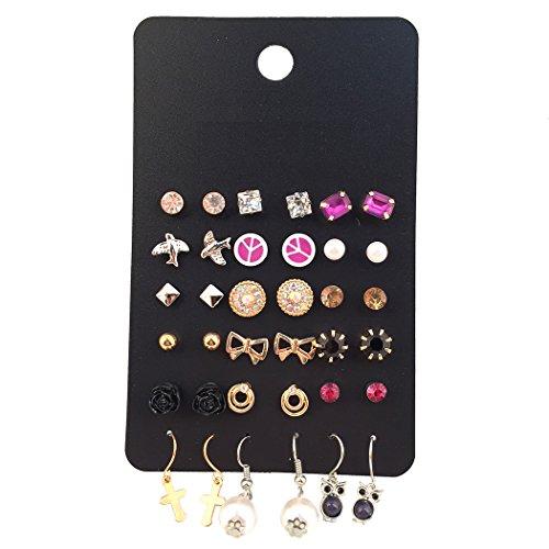 Gold Tone 18 Pairs Multiple Purple and Black Stud Earring Set for Women Cross/Owl Drop Earrings by Marte&Joven