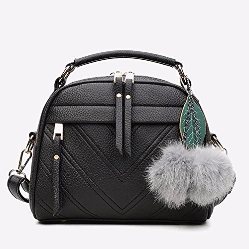 Bag PU Handbag Bag Sling Shoulder Widewing Leather Black Women Messenger Satchel qwTggO