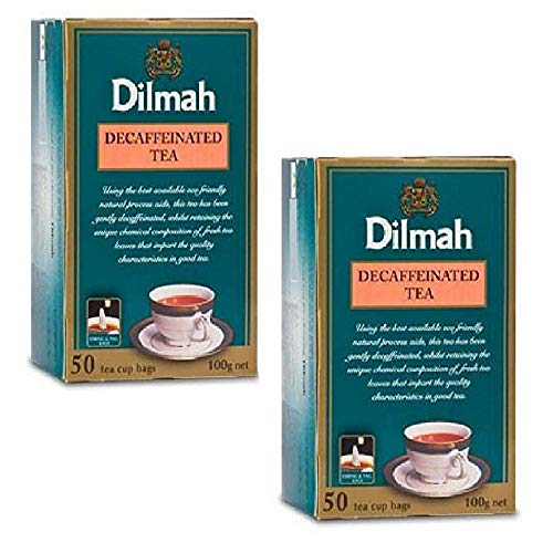 Dilmah Decaffeinated Ceylon Black Tea – 50 Tea Bags X 2 Pack – Sri Lanka Ceylon Dilmah Decaf Black Tea Bags Box