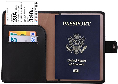 Black Leather Passport Case - Travelambo RFID Blocking Leather Passport Holder Wallet Cover Case Wing Pocket(black)