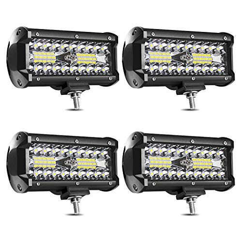 7 Inch LED Light Bar 120W LED Pods Off Road Driving Lights Led Work Lights Spot Flood Combo Beam Fog lights for Trucks Trailer Boat Pickup Car RV ATV Jeeps (4 Pack)