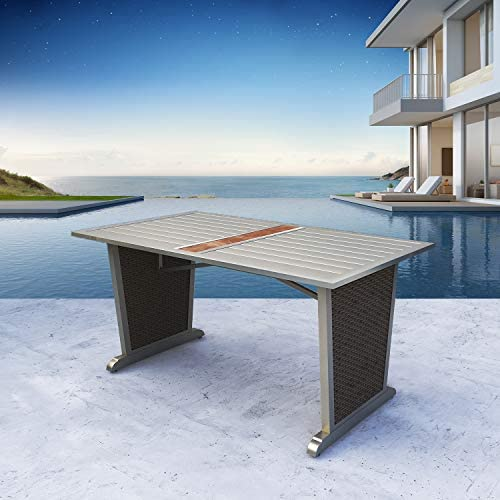 Festival Depot Rectangle 8 Seats Dining Table Outdoor Side Coffee Table Patio Metal Steel Top