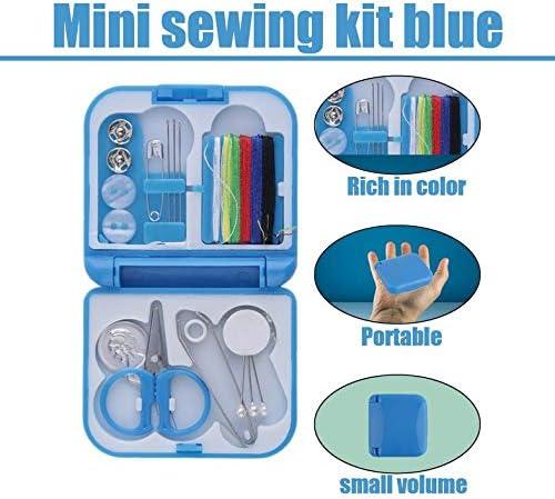 Hilo de coser completo con estilo Aguja Tijera Dedal Mini Estuche de almacenamiento de plástico Kit de costura Herramienta para uso en viajes domésticos - Azul: Amazon.es: Hogar