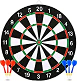 7TECH Dart Board 17 inches with 1 Double Sided Score Game Set and 6 Darts