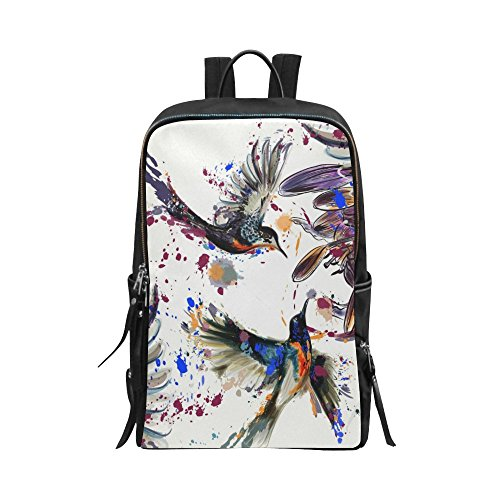 InterestPrint Unisex School Bag Lily Flowers and Hummingbirds Splashes in Watercolor Painting Casual Backpack Daypack Shoulder 15
