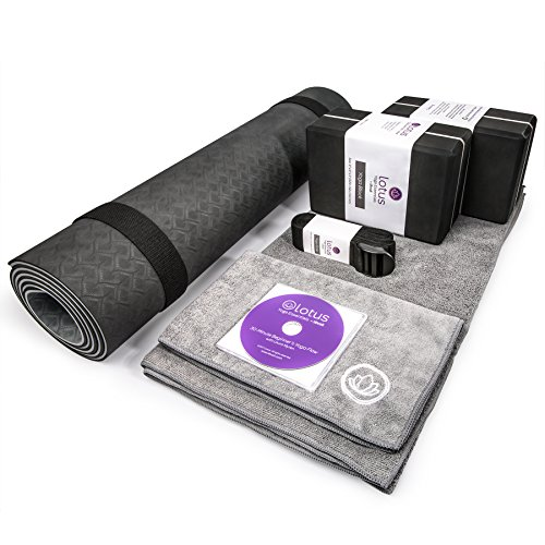 LEVOIT Premium Yoga Set Kit, 8 Pieces Equipment, Includes 1 TPE Yoga Exercise Mat,1 Instruction DVD, 2 Yoga Blocks,2 Yoga Towels,1 Carrying Bag & Strap, Perfect Gift for Yogi & Beginners