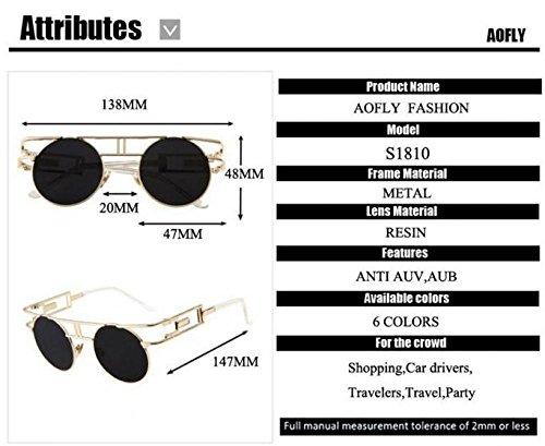 caa4b85621b89 AOFLY Fashion Metal Frame Steampunk Sunglasses Women Brand Designer Unique  Men Gothic Sun glasses Vintage Oculos De Sol Feminino (Color No.6)