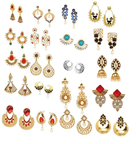 Bindhani Indian Fashion Bollywood Style Jewellery Bridal Wedding wholesale lot Jewelry Mix colored Kundan Stone Gold And Silver Plated Earrings For Women (Blue, Red, Green, Pink, Black)