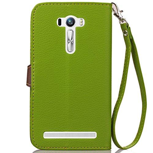 SRY-Funda Asus Zenfone Selfie ZD551KL funda, hoja de cierre magnético del caso del tirón del soporte PU funda de cuero para Asus Zenfone Selfie ZD551KL Protege tu teléfono ( Color : Red , Size : Asus  Green