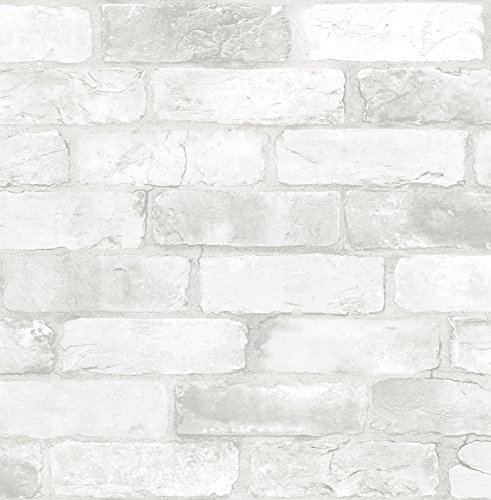 NuWallpaper NU2218 Loft White Brick Peel & Stick Wallpaper, White & Off