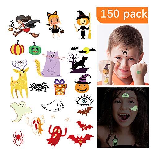 Cross Halloween Makeup (HIGHEVER Temporary Tattoos for Kids, 150 Pack Temporary Halloween Tattoos,Including Glow in The Dark Children Tattoos Halloween,2(Glow in The Dark)+8(Normal) Safe Makeup for Kids (Halloween)