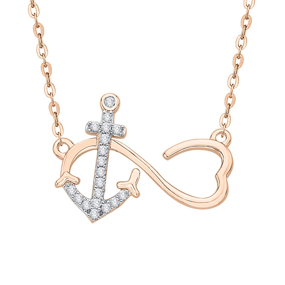 KATARINA Diamond Infinity Anchor and Heart Pendant Necklace in Gold or Silver 1//10 cttw, J-K, SI2-I1