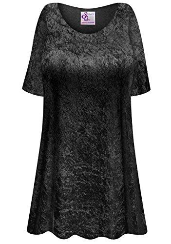 Black Crush Velvet Plus Size Supersize Extra Long A-Line Top 7x